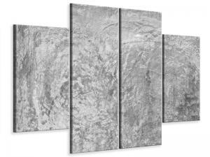 Ljudabsorberande 4 delad tavla - Wipe Technique In Gray - SilentSwede