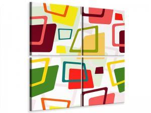 Ljudabsorberande 4 delad tavla - Rectangles In Retro Style - SilentSwede