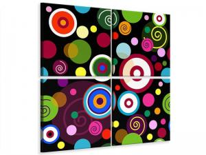 Ljudabsorberande 4 delad tavla - Colorful Retro Look Circles - SilentSwede