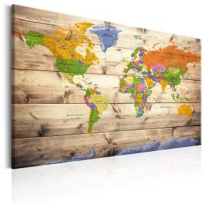 Ljuddämpande & ljudabsorberande tavla - Map on wood: Colourful Travels - SilentSwede