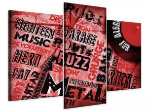 Ljudabsorberande modern 3 delad tavla - Writings Music Grunge - SilentSwede