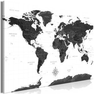 Ljuddämpande & ljudabsorberande tavla - Black and White Map - SilentSwede