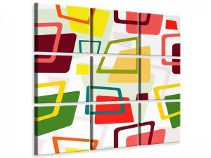 Ljudabsorberande 9 delad tavla - Rectangles In Retro Style - SilentSwede