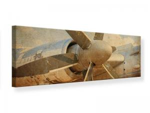 Ljudabsorberande panorama tavla - Propeller Plane In Grunge Style - SilentSwede