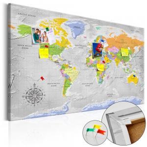 Ljuddämpande anslagstavla - World Map: Wind Rose - SilentSwede