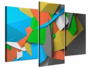 Ljudabsorberande 3 delad tavla-3D-Geometric Figures - SilentSwede