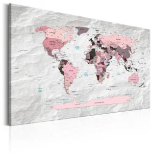 Ljuddämpande tavla - World Map: Pink Continents - SilentSwede