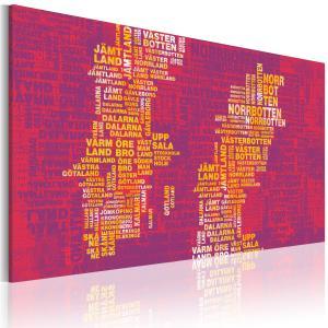 Ljuddämpande & ljudabsorberande tavla - Text karta över Sverige (rosa bakgrund) - SilentSwede
