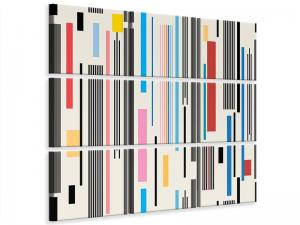Ljudabsorberande 9 delad tavla - Graphic Stripes - SilentSwede