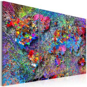 Ljuddämpande tavla - World Map: Colourful Whirl - SilentSwede