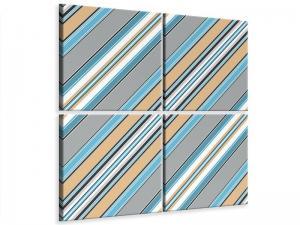 Ljudabsorberande 4 delad tavla - Color Strips - SilentSwede