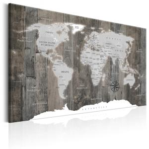 Ljuddämpande tavla - World Map: Wooden World - SilentSwede