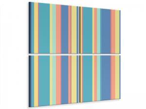 Ljudabsorberande 4 delad tavla - Vertical Stripes In Pastel - SilentSwede