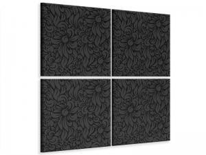 Ljudabsorberande 4 delad tavla-Rococo Pattern - SilentSwede