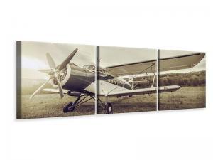 Ljudabsorberande panorama 3 delad tavla - Nostalgic Aircraft In Retro Style - SilentSwede