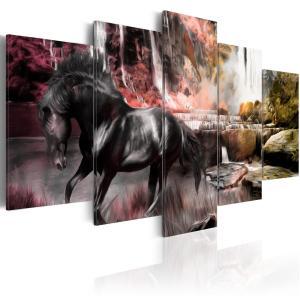 Ljuddämpande tavla - Black horse on crimson sky background - SilentSwede