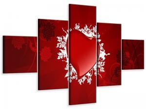 Ljudabsorberande 5 delad tavla - Flying Heart - SilentSwede