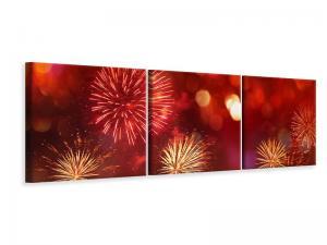 Ljudabsorberande 3 delad tavla-Colorful Fireworks - SilentSwede