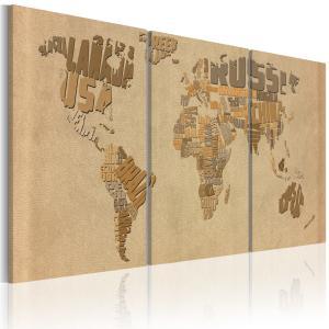 Ljuddämpande tavla - Världskartan i beige och brunt - SilentSwede