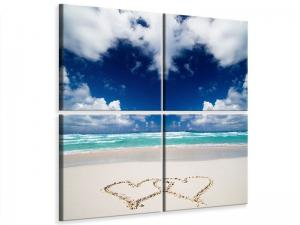Ljudabsorberande 4 delad tavla - Beach Love - SilentSwede