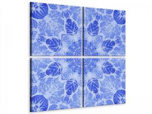 Ljudabsorberande 4 delad tavla - Blue Ornament - SilentSwede