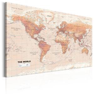 Ljuddämpande & ljudabsorberande tavla - World Map: Orange World - SilentSwede