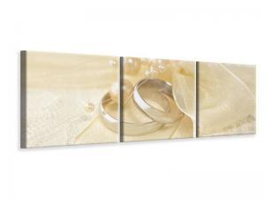 Ljudabsorberande panorama 3 delad tavla - Wedding Rings - SilentSwede