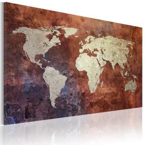 Ljuddämpande & ljudabsorberande tavla - Rusty världskarta - SilentSwede
