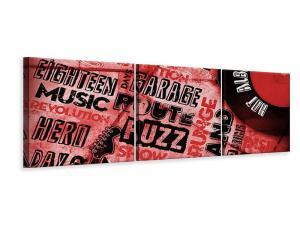 Ljudabsorberande panorama 3 delad tavla - Writings Music Grunge - SilentSwede
