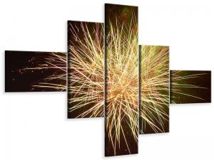 Ljudabsorberande 5 delad tavla-Fireworks XXL - SilentSwede