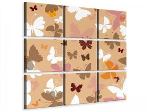 Ljudabsorberande 9 delad tavla - Retro Design Butterflies - SilentSwede