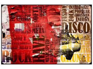 Ljudabsorberande tavla - Music Text In Grunge Style - SilentSwede