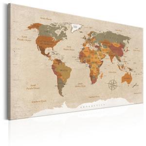 Ljuddämpande & ljudabsorberande tavla - World Map: Beige Chic - SilentSwede