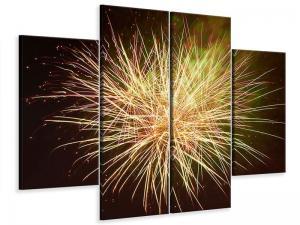 Ljudabsorberande 4 delad tavla-Fireworks XXL - SilentSwede