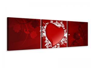 Ljudabsorberande panorama 3 delad tavla - Flying Heart - SilentSwede