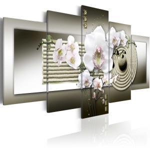 Ljuddämpande tavla - Orchid and zen garden in grey - SilentSwede