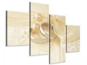 Ljudabsorberande modern 4 delad tavla - Wedding Rings - SilentSwede