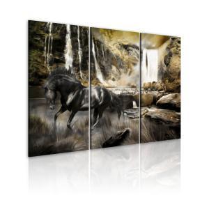 Ljuddämpande tavla - Black horse and rocky waterfall - SilentSwede