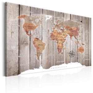 Ljuddämpande & ljudabsorberande tavla - World Map: Wooden Stories - SilentSwede