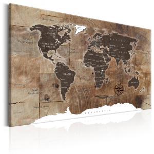 Ljuddämpande & ljudabsorberande tavla - World Map: Wooden Mosaic - SilentSwede