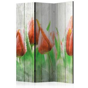 Rumsavdelare - Red tulips on wood - SilentSwede