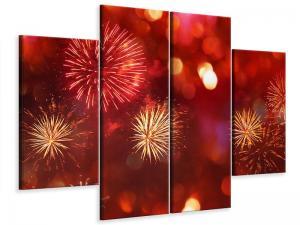 Ljudabsorberande 4 delad tavla-Colorful Fireworks - SilentSwede