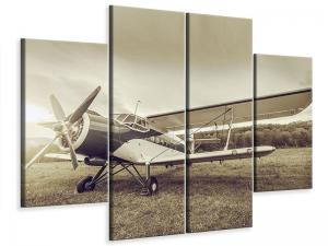 Ljudabsorberande 4 delad tavla - Nostalgic Aircraft In Retro Style - SilentSwede