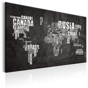 Ljuddämpande & ljudabsorberande tavla - World Map: Mundo Negro - SilentSwede