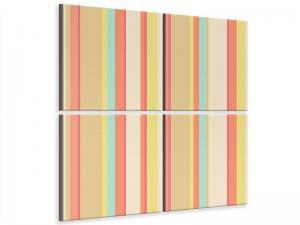 Ljudabsorberande 4 delad tavla - Pastel Stripes - SilentSwede