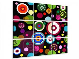 Ljudabsorberande 9 delad tavla - Colorful Retro Look Circles - SilentSwede