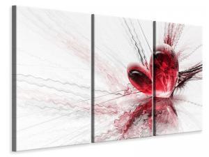 Ljudabsorberande 3 delad tavla - Heart Reflection - SilentSwede