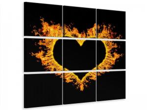 Ljudabsorberande 9 delad tavla - Heart Flame - SilentSwede
