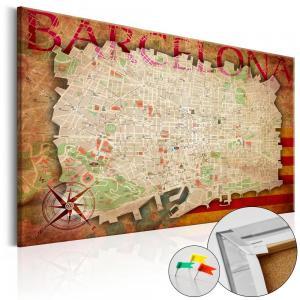 Ljuddämpande anslagstavla - Map of Barcelona - SilentSwede