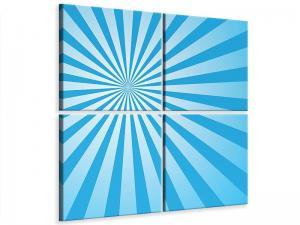 Ljudabsorberande 4 delad tavla - Retro Waves Perspective - SilentSwede